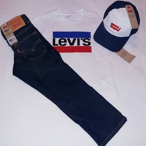 Levi's Boys Toddler 3pc Jeans/Tee Set With Cap